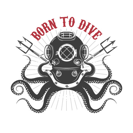 Born to dive. octopus with diver helmet and two tridents. Template for t-shirt print. Vector illustration. Ilustracja