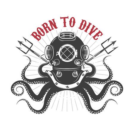Nacido para bucear. pulpo con casco de buzo y dos tridentes. Plantilla para la impresión de la camiseta. Ilustración del vector.