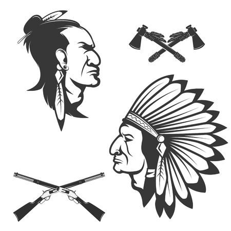 brave: Set of american native chief heads. American indians headdress and weapon. Crossed tomahawks.  Design elements for logo, label, emblem, sign, badge, brand mark.