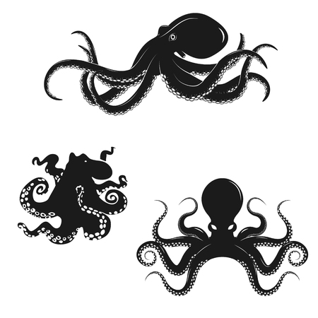 Set of octopus silhouettes isolated on white background. Seafood.  Design elements for logo, label, emblem, sign, badge, brand mark, restaurant menu, poster. Vector illustration.