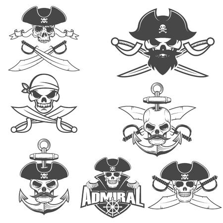 freebooter: Set of pirate skulls with swords. Design element for logo, label, emblem, sign, brand mark. Vector illustration.