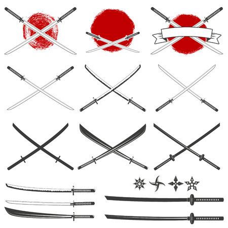daimyo: Set of the katana swords. Samurai and ninja weapon in retro style. Crossed samurai swords collection. Ninja shurikens. Illustration