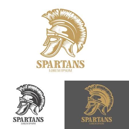 Spartan helmet. Design elements for logo, label, emblem, sign, brand mark, poster. Vector illustration.