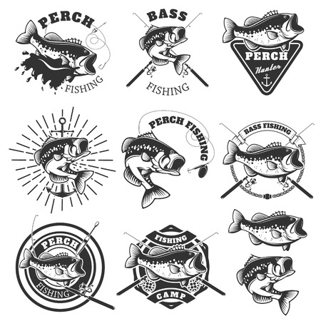 pike: Bass fishing labels. Perch fish. Emblems templates for fishing club. illustration.