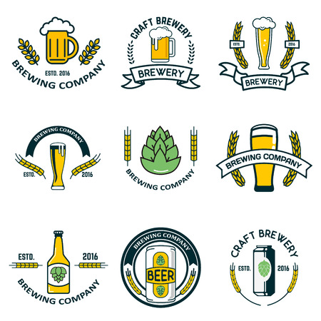 brewery labels and design elements. Beer mugs, bottles, hop, wheat wreath. Design elements for label, emblem, brand mark. illustration.