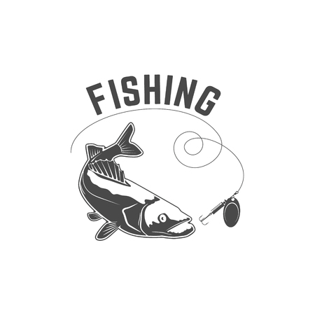 lacks: Fishing. Silhouette of pike-perch, which lacks trolling. Design element for  label, emblem, sign. illustration. Illustration