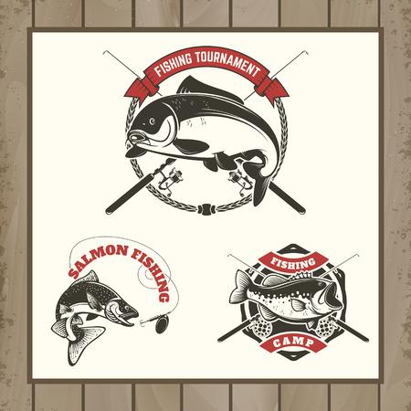 fishing tournament labels. Carp fishing, salmon fishing, perch fishing. Design elements for  label, emblem, sign, brand mark. illustration. Illustration
