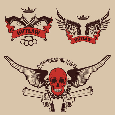 outlaw: Outlaw. Two revolvers on light background. T-shirt print template.
