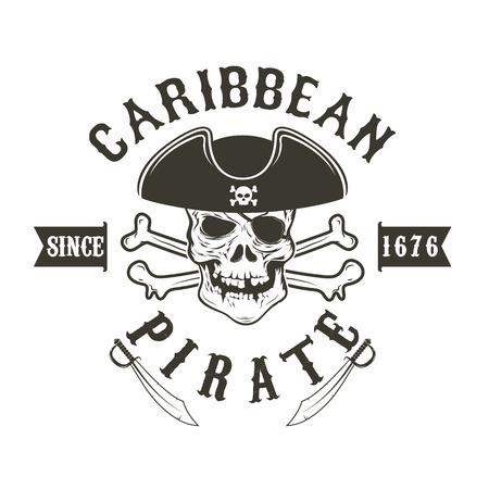 admiral: Caribbean pirate.  Pirate skull in admiral headdress and swords. Design element for  label, emblem, sign. illustration. Illustration