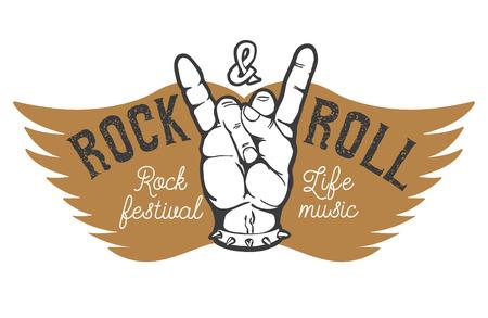 festival de rock. La mano del hombre con el rock and roll gesto en el fondo con las alas. Elemento de diseño para la impresión de la camiseta, cartel. ilustración.