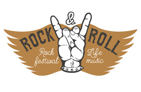 Rock festival. Human hand with rock and roll sign on background with wings.  Design element for t-shirt print, poster. illustration. Vettoriali