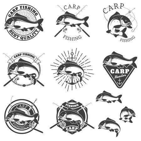 Set of carp fishing labels. Design elements for label, emblem for fishing club. illustration. Vektorové ilustrace