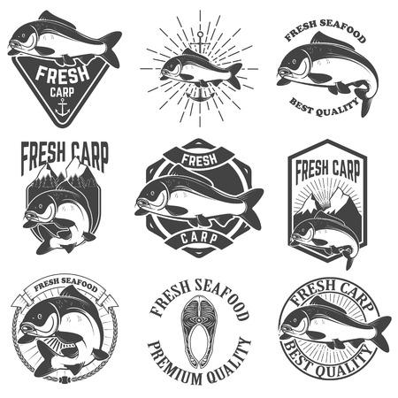 carp fishing: Set of the fresh carp labels, emblems and design elements. Carp fishing.  Design element for  label, emblem, sign. illustration.