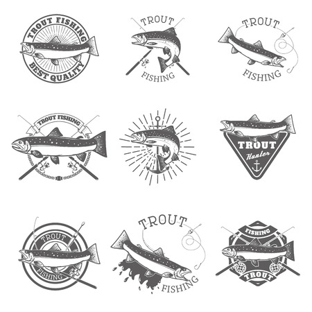 Set of trout fishing labels. Fishing club, team emblems templates. illustration.