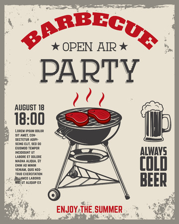 Barbecue open air party flyer. Vintage grill on grunge background. Vector illustration. Иллюстрация