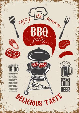inscription: BBQ party vintage flyer on grunge background. Grill with kitchen tools, steaks, sausage. Design elements for restaurant menu, poster. Vector illustration.