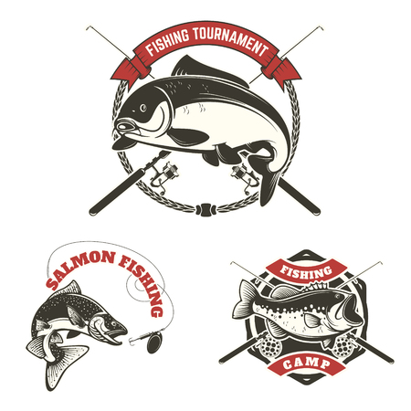 fishing tournament labels. Carp fishing, salmon fishing, perch fishing. Design elements for logo, label, emblem, sign, brand mark. Vector illustration.
