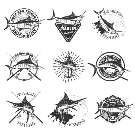 Pesca de la aguja. iconos de pez espada. Pesca de mar profundo. Elementos de diseño de emblema, muestra, marca de la marca. Ilustración del vector. Foto de archivo - 61581772