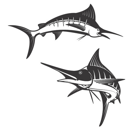 marline: Marlin fish icons. Design elements for fishing club or team. Seafood. Vector illustration. Illustration