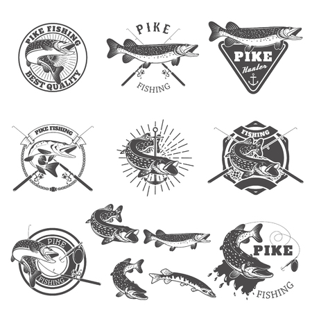 Pike fishing labels. Fishing club, team emblems templates. Vector illustration. Иллюстрация