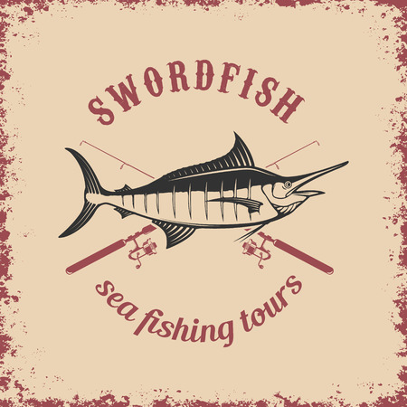 hand line fishing: Sea fishing tours. Swordfish on grunge background. Vector illustration.