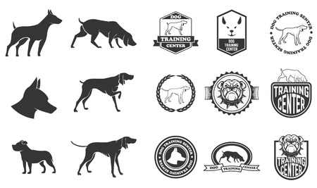 Set of dog icons, labels and design elements. Dog training center. Vector illustration.