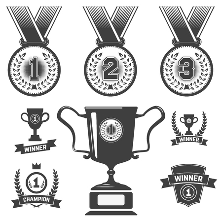 primer lugar: Conjunto de iconos de medalla, trofeo de primer lugar, iconos. Elementos del diseño en vectores.