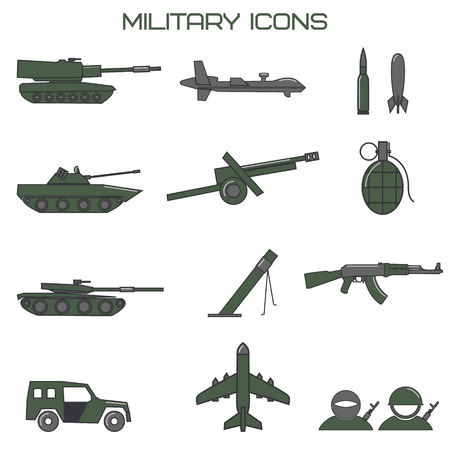 howitzer: Set of military icons. tank, fighting machine, drone, mortar ammunition, howitzer. Vector illustration.