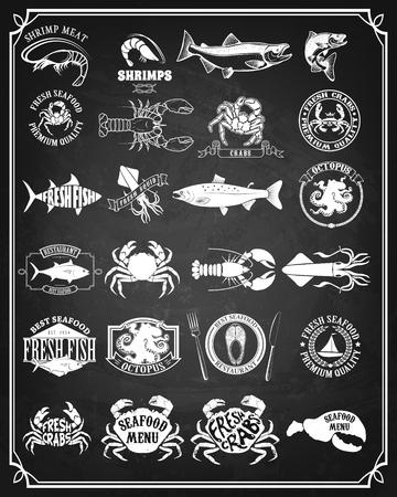 logo element: Set of seafood labels and badges. Design element for logo, label, emblem, sign. Vector illustration.