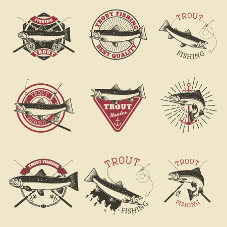 Set of trout fishing labels. Fishing club, team emblems templates. Vector illustration.