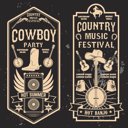 Country muziek festival flyer. Ontwerpelement in vector. Stock Illustratie