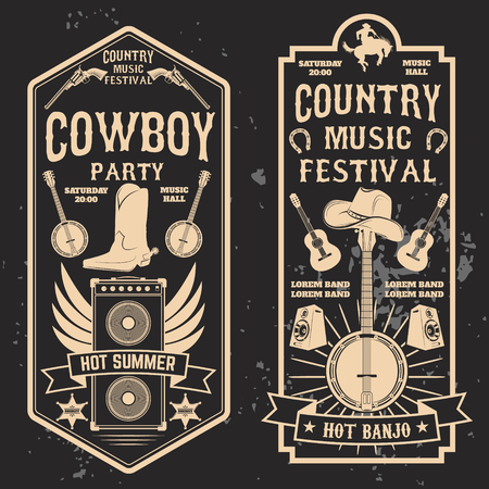 Country music festival flyer. Design element in vector.