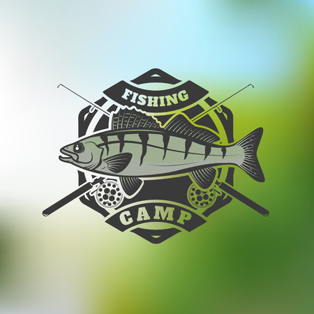 fishing camp emblem template on colorful background. Pike perch fish with two crossed fishing rods. Vector illustration. Illustration