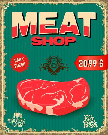 fresh meat: fresh meat. butcher shop. Vector illustration. Illustration