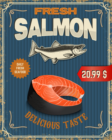 Fresh salmon. Salmon steak illustration in retro style on grunge background. Seafood poster template. Vector illustration.