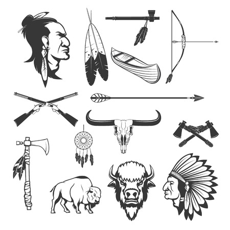 indios americanos: Indian icons. Native americans.  American indians weapon. Vector illustration.