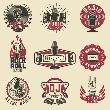 record: Radio labels. Retro radio, record studio, rock and roll radio emblems. Old style microphone, guitars. Design elements for logo, label, sign, badge.