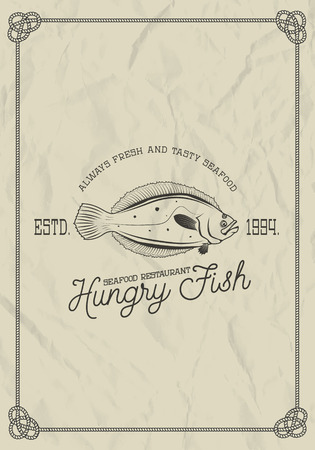 plaice: seafood restaurant label template. flounder fish on grunge background. Vector illustration.