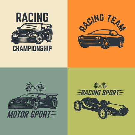 motor sport: Set of car icons. Motor sport, car racing.  Vector illustration. Illustration