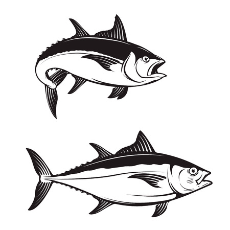 Tuna fish icons. Vector illustration.