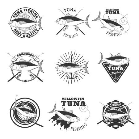 marline: tuna fishing. Design elements for fishing team emblem. Vector illustration. Illustration