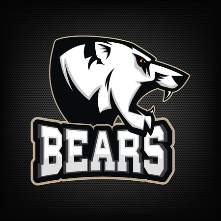 grizzly: Ours blanc. équipe sportive mascotte. Vector illustration. Illustration