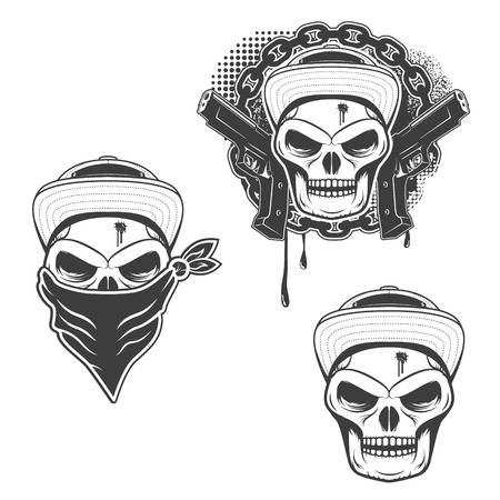 gangsta: Set of  gangsta skulls isolated on white background. Design element for t-shirt print, poster, sticker. Vector illustration.