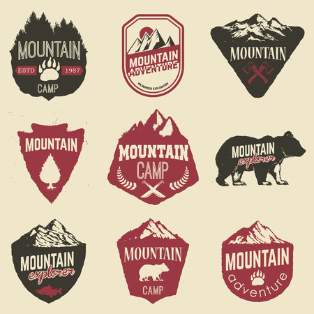 Hiking, mountains exploration labels and emblems. Vector illustration.