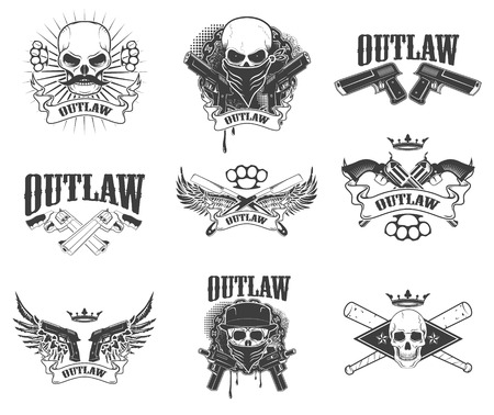 Set of  gangsta skulls isolated on white background. outlaw. Wings with weapon.  Design element for t-shirt print, poster, sticker. Vector illustration. Ilustração