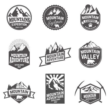 exploration: Hiking, mountains exploration labels and emblems. Vector illustration.