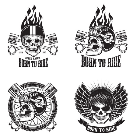 speed ride: Speed racer. Born to ride. Set of emblems with human skulls in racing helmets. Vector illustration.