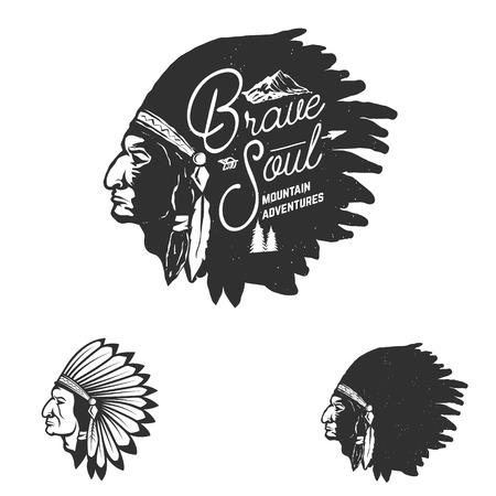 indian brave: Brave Soul, mountain adventures. Indian chief head in grunge style. Design element, label, emblem, sign, brand mark. Vector illustration. Illustration