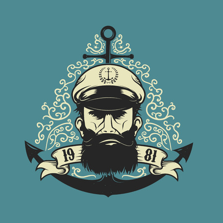 Sea Captain head with anchor on floral background. Design element for poster, t-shirt print. Vector illustration.