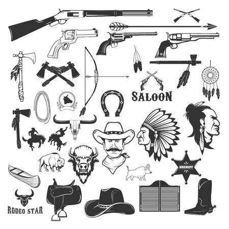 Cowboy and native american indians design elements. Vector illustration.